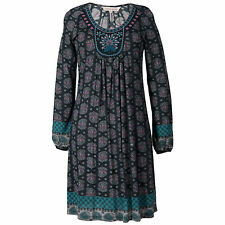 Women's embroidered peacock paisley flowing charcoal tunic dress