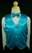Baby Boys Toddler & Big Kids TURQUOISE VEST + BOW TIE Suits & Tuxedo Sz S - 28