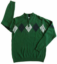 new $49 TOMMY HILFIGER boys GREEN ARGYLE KNIT SWEATER nwt L 16 / 18 XL 20