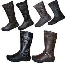 Lovely girls ladies winter calf boots faux leather NEW 9-3 black, brown
