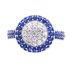 Sterling Silver Pave White/Blue Cubic Zirconia Cluster Round Shape Wedding Ring