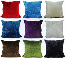 "large plain crush velvet cushions + covers or covers 10 colours 20x20"" or 17x17"""