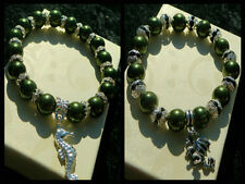 10mm MAGNETIC GREEN HEMATITE BEADED STRETCH BRACELET ~ SILVER ~ GOLD ~ SPACERS