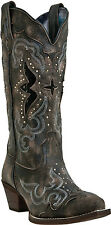 "Women's Laredo ""Lucretia"" Black  Snip Toe with Snake Print Inlay Western Boot"
