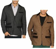 New Mens Soul Star Blazer Jacket Brown & Black Slim Cord Tweed Herringbone Style