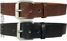 "MENS REAL LEATHER BELTS 1.5"" BELT IN BLACK AND BROWN WITH QUALITY CHUNKY BUCKLE"
