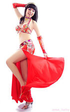 Belly Dance Costume 5 Pics Bra&Skirt&Necklace&2 sleeves 34B/C 36B/C 38B/C 5color