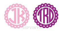 """2"""" 3"""" Personalized Scalloped Monogram Circle Decal"""