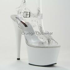 """LUCIOUS PX White & Clear Polka Dot Ankle Strap Platform 6"""" Heels Stripper Shoes"""