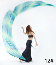 New Belly Dance Gradient Silk Veil Poi 1 Set (2 Veils+2 Balls Chain) 31 colours
