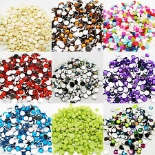 1000 Rhinestone Acrylic Crystal Silver FLAT BACK GEM sizes from 1.5mm to 10mm