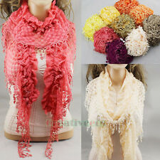 Elegant Sexy Vintage Pleated Ruffle Dot Lace Trim Slender Stretch Long Scarf New