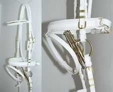 FSS BAROQUE FRIESIAN WHITE German Comfort FANCY BRASS BUCKLES CLENCHER Bridle