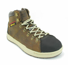 Mens Caterpillar Brode hi Beige Steel Toe SB Safety trainers boots size 7 8 9 10