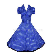 H&R LONDON BLUE POLKA DOT PINUP SWING 1950's HOUSEWIFE DRESS VINTAGE ROCKABILLY