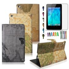 World Map Design Leather Stand Case Cover For 2013 Google Nexus 7 2nd Gen