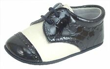 DE OSU Spain -Baby Ivory Leather Navy Croc Patent Dress Crib Shoes DO-136 - Euro