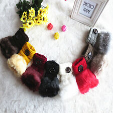 Fashion Winter Fingerless Furry Knit Mitten Button Gloves Rabbit Fur Hand Wrist