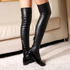 Women's Antiskid Elastic OVER Knee High Thigh FLAT Combat Military RIDING Boots