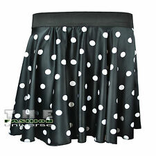Ladies Women Satin Silk Polka Dot RockNRoll Full Circular Poodle Skirt&Scarf Set