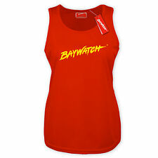 LICENSED BAYWATCH ® LADIES RED COOLTEX RACER BACK LIFEGUARD VEST TOP FANCY DRESS