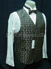 mens vest waistcoat brown & gold brocade 2 ties included M-XXL