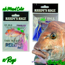 10x Snapper Rig Flasher Bait Paternoster Lure Jig Fishing 5/0 Offshore Mixed