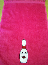 "11x18 fringed Bowling towel Embroidered ""Lady Pin"" 18 color choice"