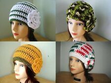 WHITE Green LIME Gold BROWN Handmade Crochet CLOCHE Beanie HATs & Rose PiNs Knit