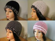 BLACK Grey WHITE Pink BULKY TRIM Handmade CROCHET Cloche BEANIE HATs Knit