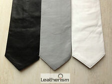 Soft Nappa Uniform Leather Tie, bluf, Choice of colours bluf gay int