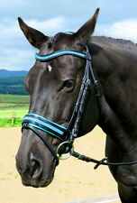 FSS GLISTEN Curve CRYSTAL TURQUOISE BLING AQUA German Comfort PATENT Glos Bridle