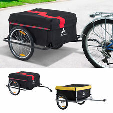 Aosom Steel Frame Bicycle Bike Cargo Trailer Luggage Cart Carrier For Shopping