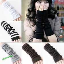 New Fashion Women Girls Soft Arm Warmer Long Fingerless Gloves 6 Colors