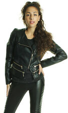 BNWT  LEATHER LOOK BIKER/BOMBER RUCHED SIDES ZIP DETAIL JACKET BLACK S M L XL