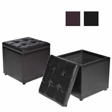 Home Pu Leather Square Storage Ottoman Footstool Foot Rest