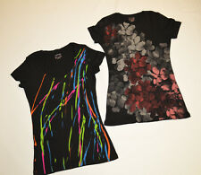 2 Converse Women's Black Neon & Flowers Graphic Tees - XS/S/M/L/XL - NWOT