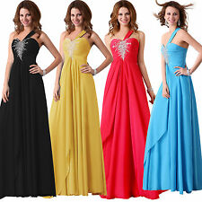 One Shoulder Wedding Bridesmaid Dresses Evening Party Formal Prom Gown In Stock