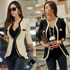 Fashion New Womens Ladies Slim Suit Coat Blazer White Black Colors Jacket Button
