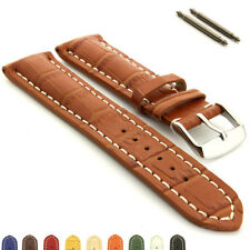Genuine Leather Watch Band Strap VIP Stainless Steel Buckle Alligator Grain - MM