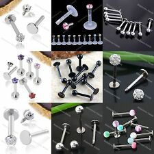1-20PCS Steel Lip Chin Labret Ring Bar Tragus Stud Ball Body Piercing 16/18GA