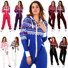 Unisex AZTEC ONESIE Jumpsuit Tracksuit Hooded Mens Womens Fleece Cosy New
