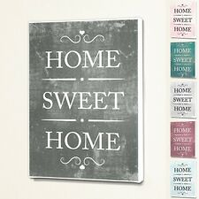 Home Sweet Home - Wall Quote Sign Saying Box Canvas Fabric Print - 6 Colours