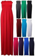 New Ladies Long Boob Tube Bandeau Strapless Womens Jersey Maxi Dress Size 8 - 14