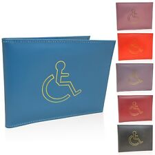 NEW REAL LEATHER DISABLED BADGE HOLDER WALLET PARKING BlUE DISABILITY COVER