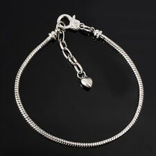Silver /P Lobster Clasp Snake Chain Charm Bracelets Fit European Beads 16-23cm