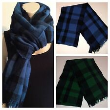 NWT Polo Ralph Lauren 100% Wool Black & Green Black & Blue Plaid & Checks Scarf