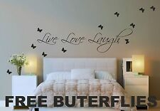 Live Love Laugh Wall Quote Stickers Decals Art Decor Vinyl DIY +FREE BUTTERFLIES
