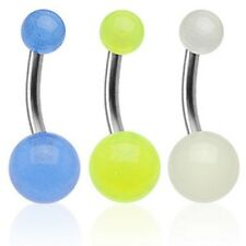 GLOW IN THE DARK BALL BELLY NAVEL RING SOLID TITANIUM BAR BUTTON PIERCING B49