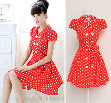50'S style polka Dots Ladys Double-breasted Rose Buttons Red Dress Dresses